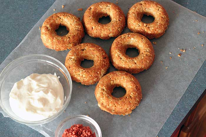 dog donuts ready to decorate